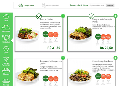 Tela do sistema de delivery da EquipeDigital.com
